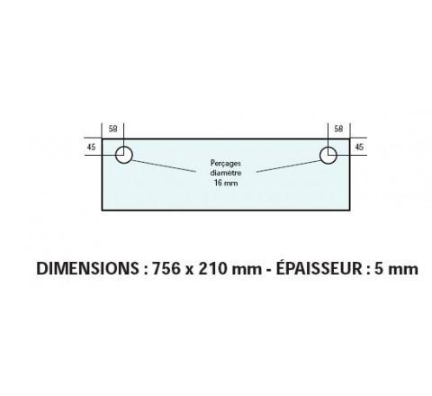 VITRE ADAPTABLE SUR FOUR BONGARD 756 X 210 mm Ep: 5 mm