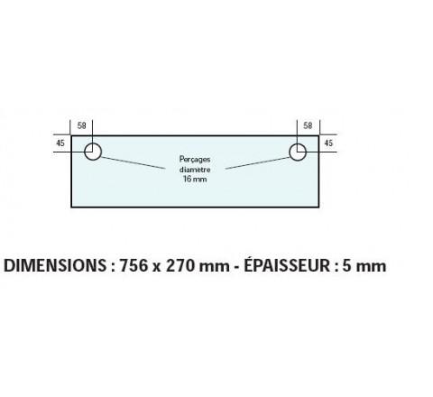 VITRE ADAPTABLE SUR FOUR BONGARD 756 X 270 mm Ep:5 mm