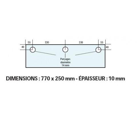 VITRE ADAPTABLE SUR FOUR FRINGAND 770 X 250 mm Ep: 10 mm