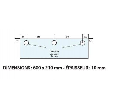 VITRE ADAPTABLE SUR FOUR FRINGAND 600 X 210 mm Ep: 10 mm