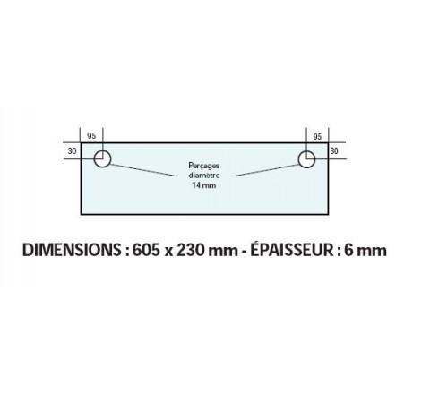 VITRE ADAPTABLE SUR FOUR FRINGAND 605 X 230 mm Ep: 6 mm