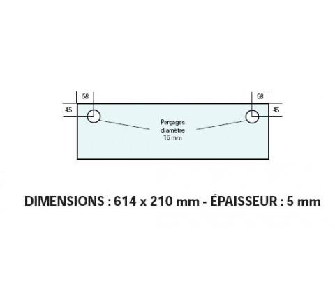 VITRE ADAPTABLE SUR FOUR BONGARD 614 X 210 mm Ep: 5 mm