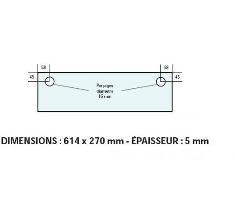VITRE ADAPTABLE SUR FOUR BONGARD 614 X 270 mm Ep: 5 mm