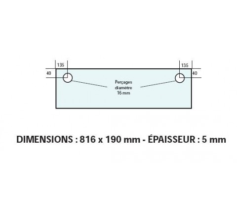 VITRE ADAPTABLE SUR FOUR BONGARD 816 X 190 mm Ep: 5 mm