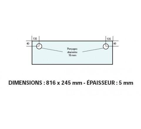 VITRE ADAPTABLE SUR FOUR BONGARD 816 X 245 mm Ep: 5 mm