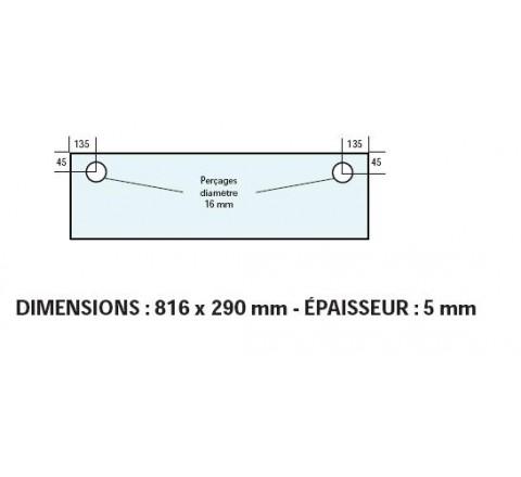 VITRE ADAPTABLE SUR FOUR BONGARD 816 X 290 mm EP: 5 mm