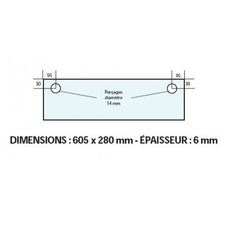 VITRE ADAPTABLE SUR FOUR FRINGAND 605 X 280 mm Ep: 6 mm