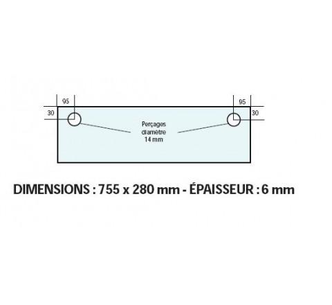 VITRE ADAPTABLE SUR FOUR FRINGAND 755 X 280 mm Ep: 6 mm