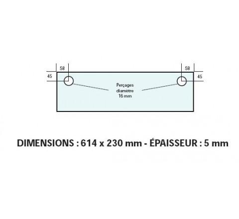 VITRE ADAPTABLE SUR FOUR BONGARD 614 X230 mm Ep:5 mm