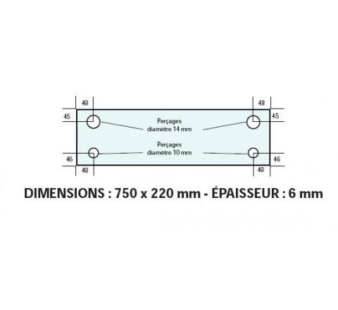 VITRE ADAPTABLE SUR FOUR BONGARD 750 X 220 mm Ep: 6 mm